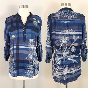 Desigual XL Blouse Top Embroidered Flannel Blue Floral Plaid Striped